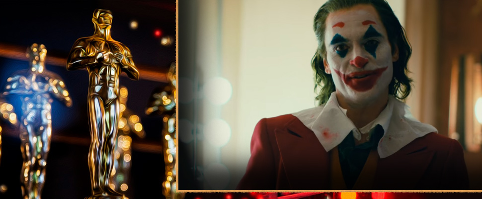 Oscar statuette and frame of the movie 'Joker'.