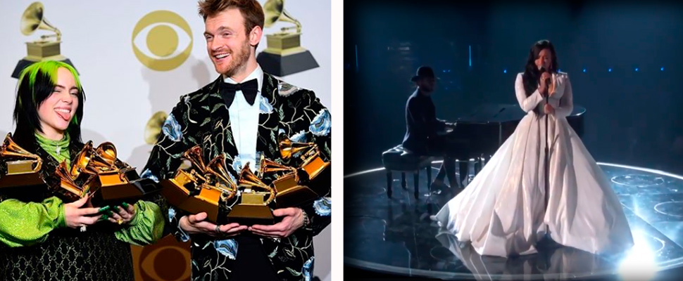 Billie Eilish and Finneas with their awards; Demi Lovato during her presentation at the Grammys.