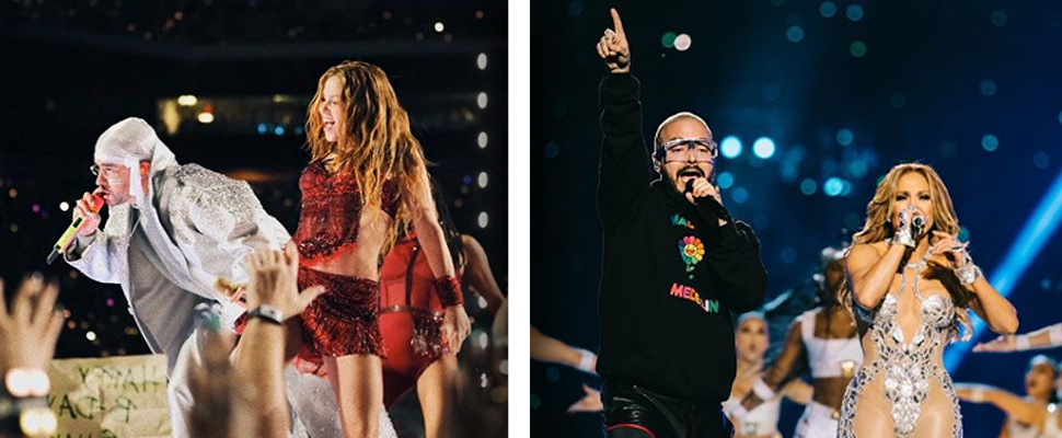 Shakira - Bad Bunny and J Balvin - Jennifer López during her performances in the Super Bowl.