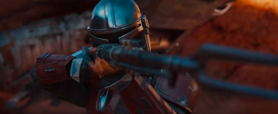Still from the trailer for the series 'The Mandalorian'.
