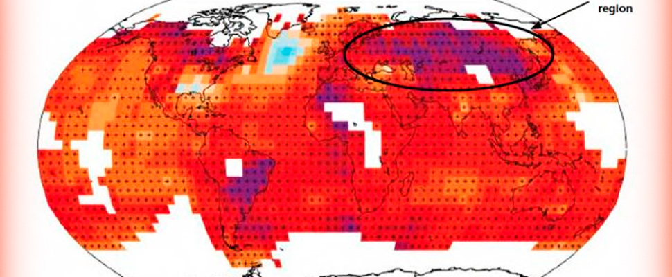 Deep red and deep blue in the CEECCA region indicate warming by 1.0 ° C to 2.5 ° C in the last 112 years.