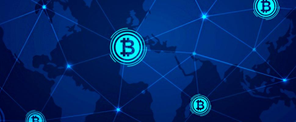 Blockchain y símbolos de bitcoin.