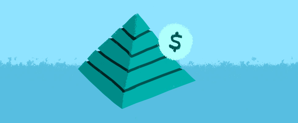 Illustration of a pyramid and the peso sign.