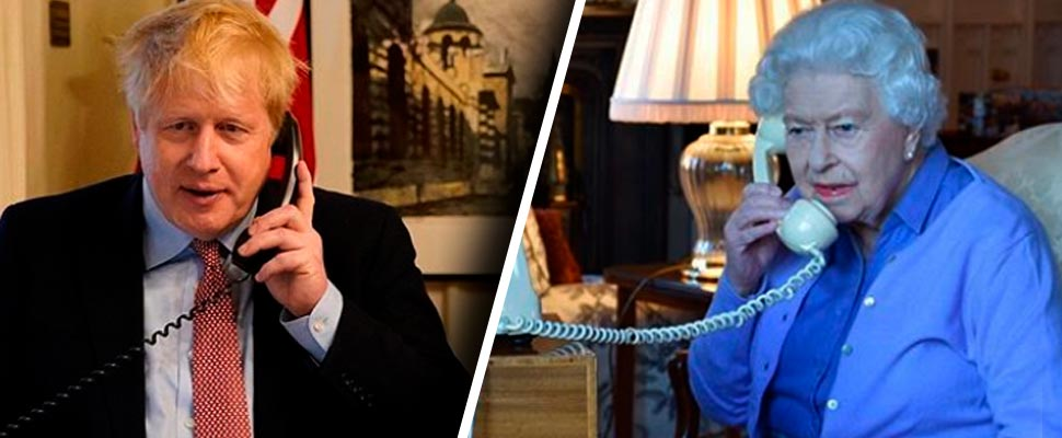 Boris Johnson, Prime Minister of the United Kingdom and Queen Elizabeth, on the phone.