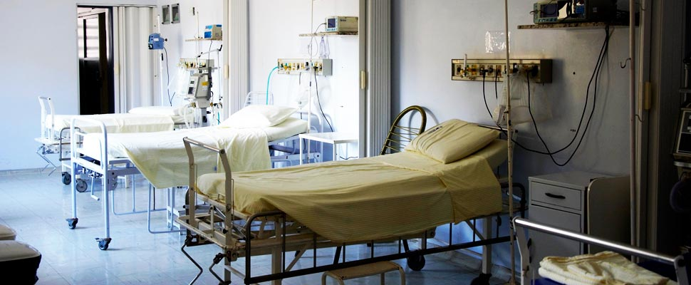 Empty beds in a hospital.