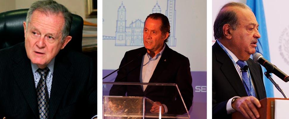 Luis Carlos Sarmiento, Juan Carlos Escotet y Carlos Slim.
