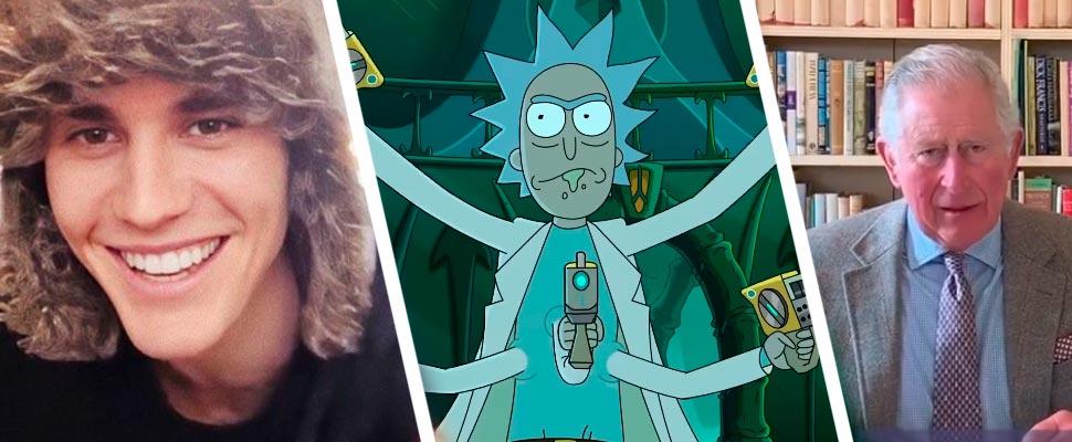 Justin Bieber, fotograma de la serie 'Rick and Morty' y el príncipe Carlos de Inglaterra.
