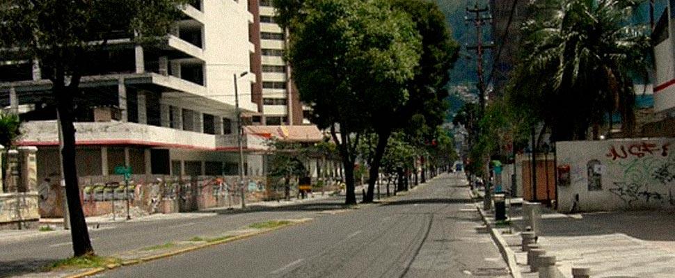 View of a street in Quito, Ecuador.