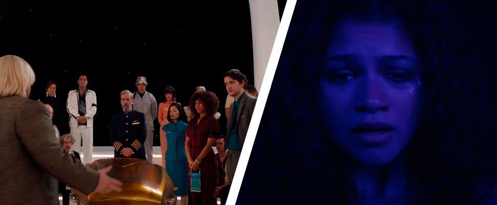 Fotogramas de las series 'Avenue 5' y 'Euphoria'.
