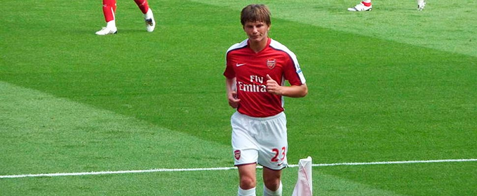 Andrei Arshavin in Arsenal FC uniform.