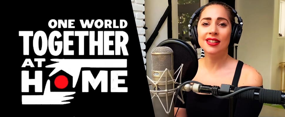 Logo for 'One World: Together at Home' and Lady Gaga.