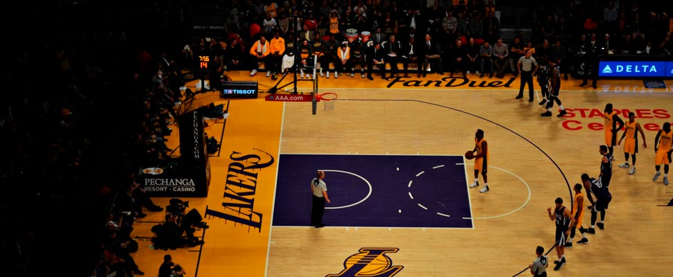 Lakers player taking a free kick.