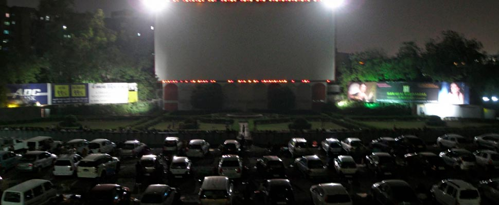 Cars during a drive-in show.