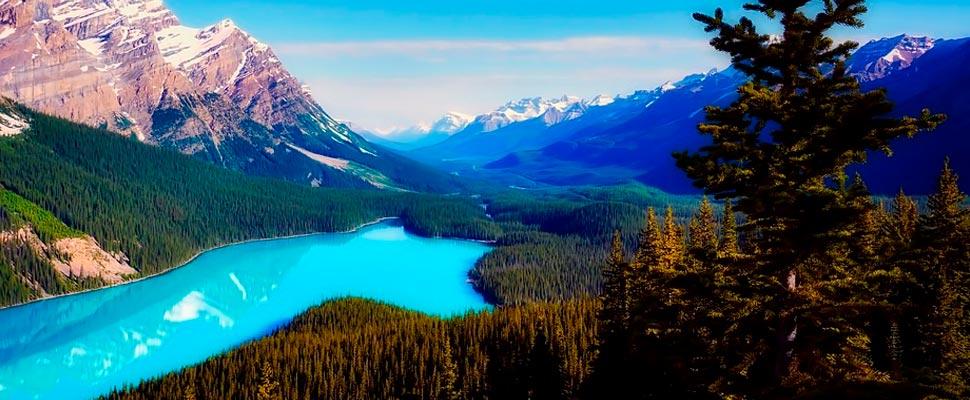 Vista del lago Peyto en Canadá.