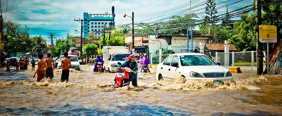 City after a flood.