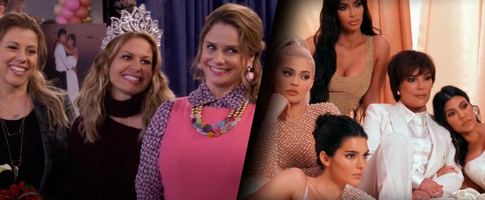 Frame from 'Fuller House' and frame from 'Keeping up with the Kardashians'.
