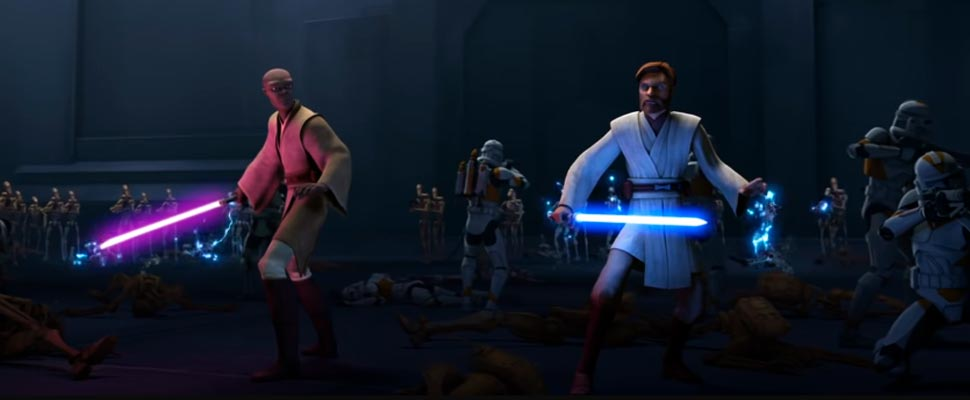 Frame from the trailer for the series 'Star Wars: The Clone Wars'.