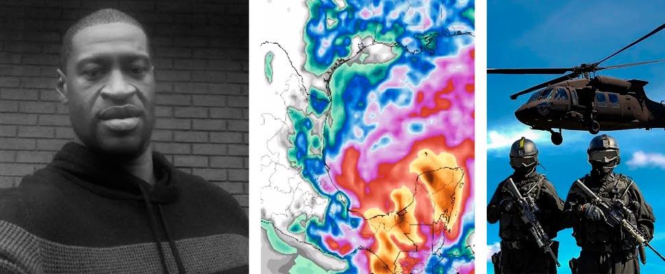 George Floyd, imagen meteorológica de la tormenta Cristóbal y grupo de soldados.