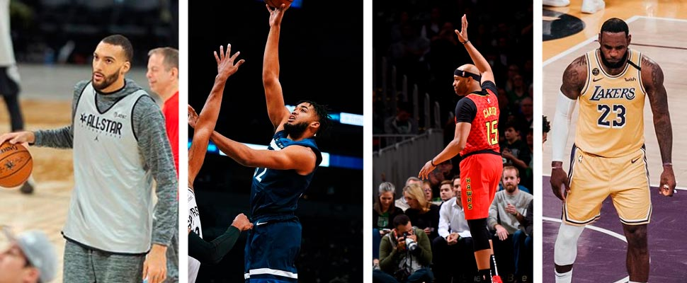 Rudy Gobert, Karl-Anthony Towns, Vince Carter y LeBron James.