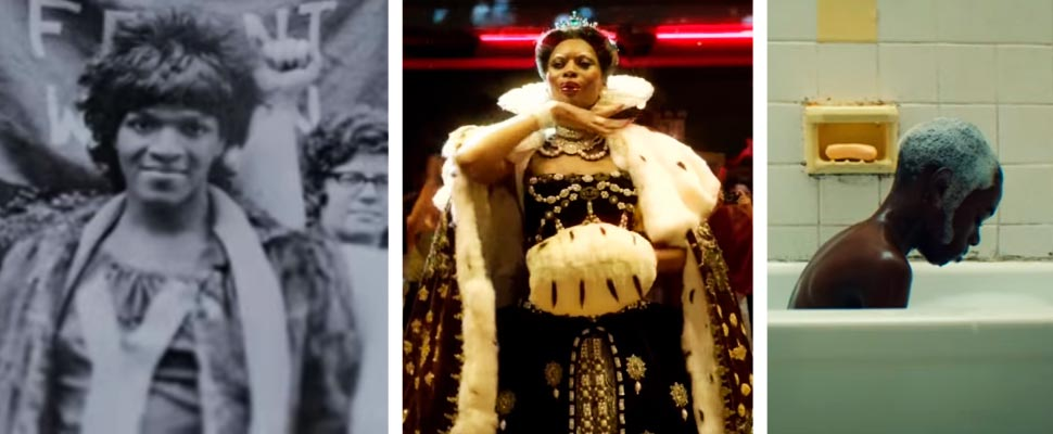 Frames from the productions 'The Death and Life of Marsha P. Johnson', 'Pose' and 'Moonlight'.