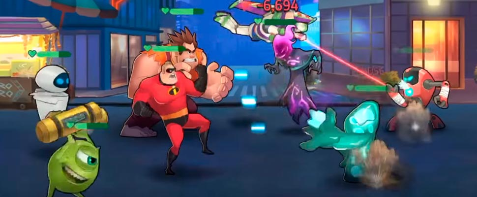 Frame from the video game trailer 'Disney Heroes: Battle Mode'