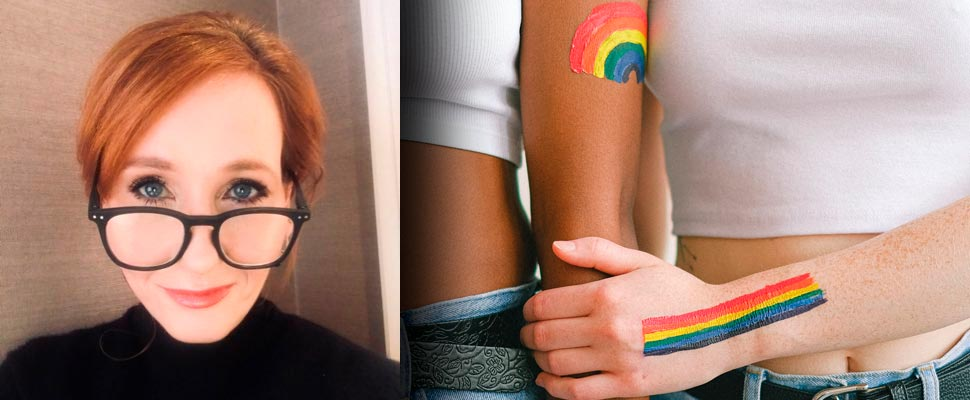 J.K. Rowling and two women with rainbow flags painted on their bodies.