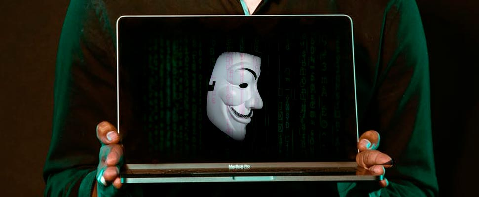Anonymous mask on a computer
