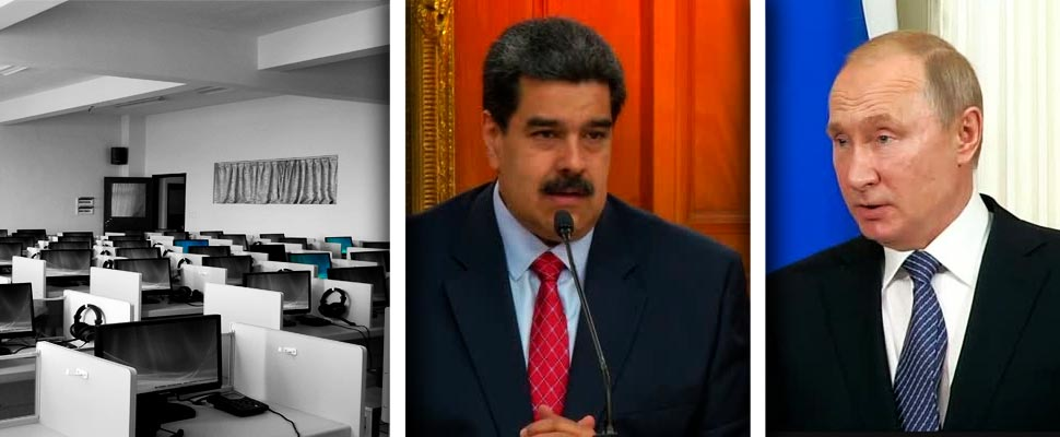 Empty office, Nicolas Maduro and Vladimir Puttin.
