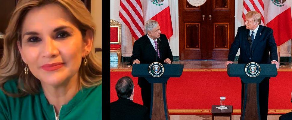 Jeanine Añez y Andres Manuel López Obrador con Donald Trump