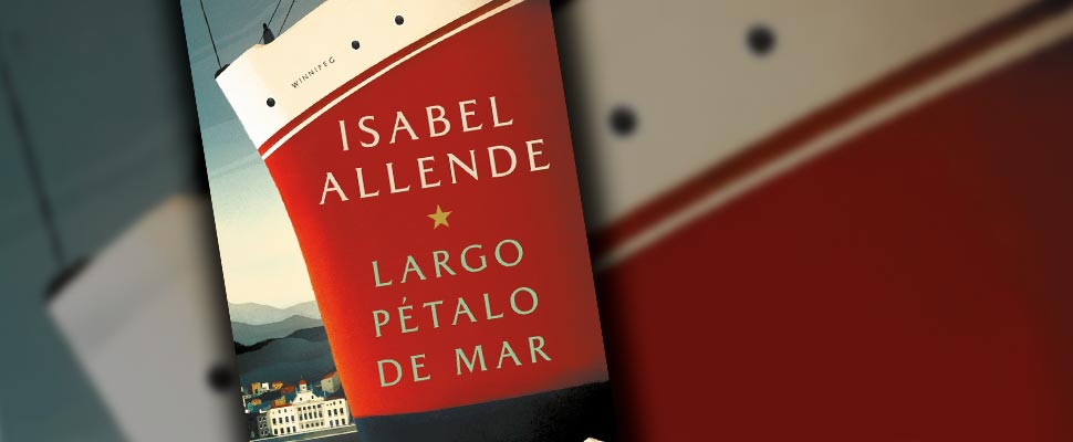 Cover of the book 'Largo Pétalo de Mar' by Isabel Allende.