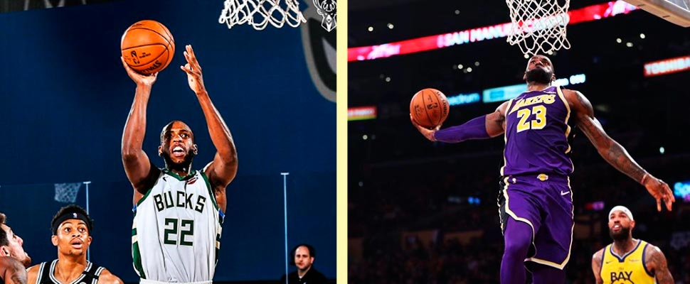 Jugadores de los Milwaukee Bucks y Los Angeles Lakers