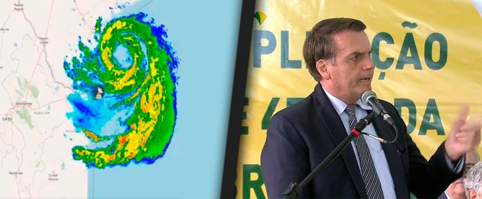 Radar del huracán 'Hanna' en México y Jair Bolsonaro, presidente de Brasil.