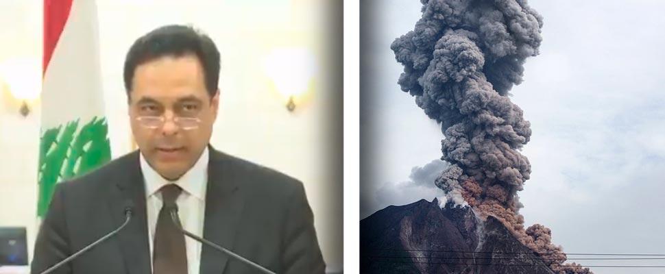 Primer ministro del Líbano Hassan Diab y volcán Sinabung