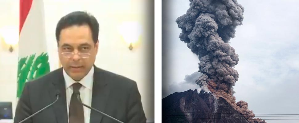Prime Minister of Lebanon Hassan Diab and Sinabung volcano