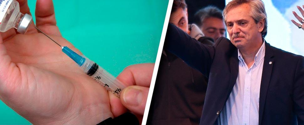 Vacuna y Alberto Fernández, presidente de Argentina
