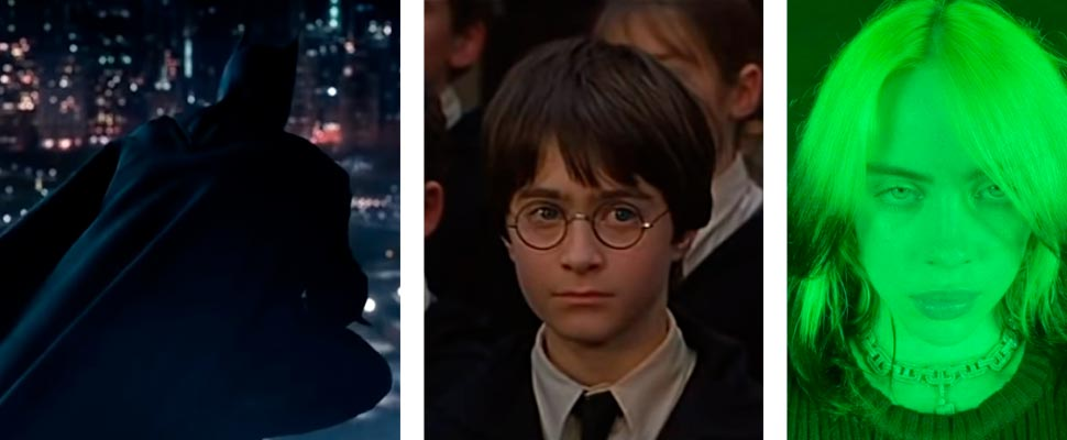 Frame from the movie 'The Batman', frame from the movie 'Harry Potter,' and Billie Eilish