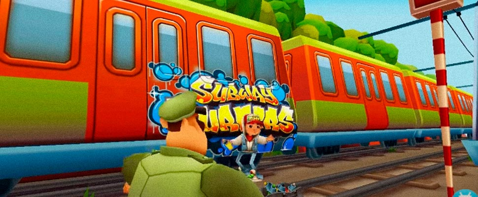 Still from the trailer for the video game 'Subway Surfers'