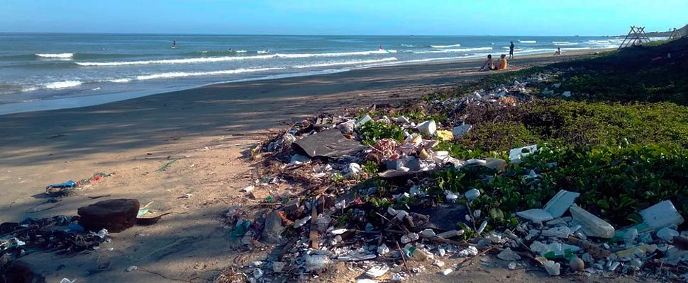Beach with plastic pollution