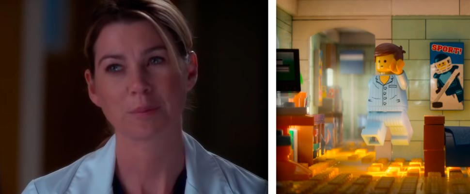 Still from the series 'Grays Anatomy' and the film 'The LEGO Movie'