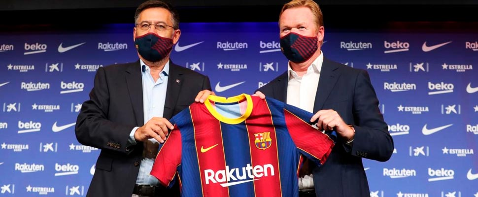 Ronald Koeman with Joseph Bartomeu