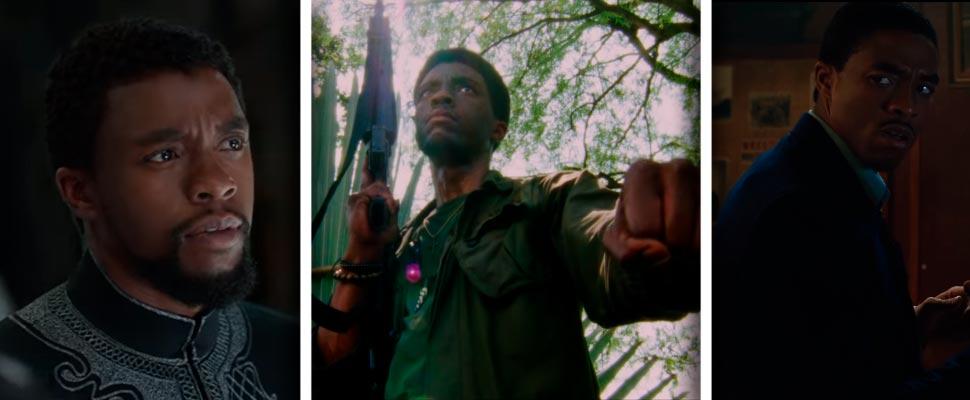 Fotogramas de las películas 'Black Panther', 'Da 5 Bloods' y 'Marshall'.