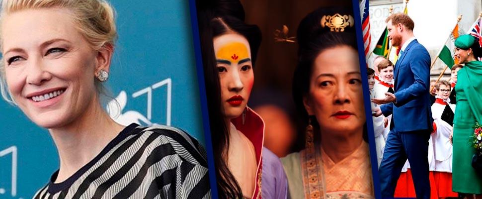 Cate Blanchett, fotograma de la película 'Mulán' y Meghan Markle y el príncipe Harry