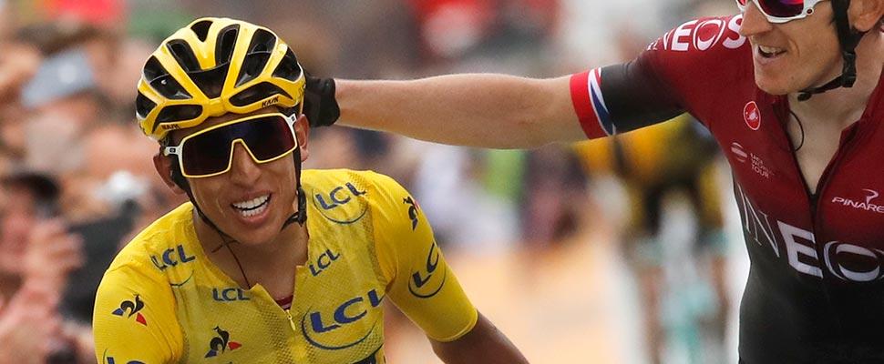 Egan Bernal durante la etapa final del Tour de Francia 2019