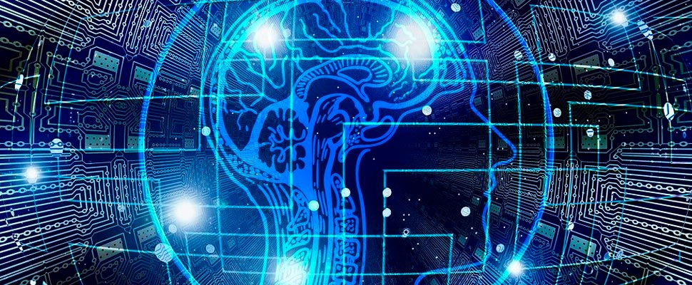 Vector de inteligencia artificial en un cerebro