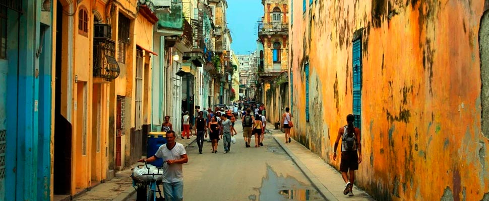 View of a busy street in Havana, Cuba