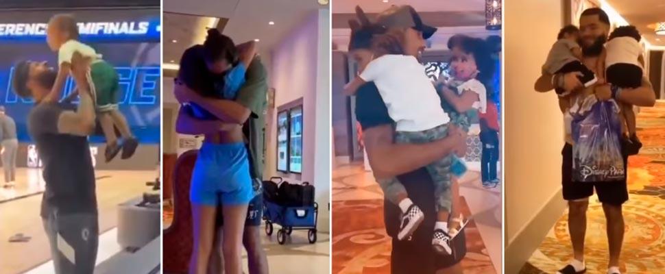 Jugadores de la NBA reuniéndose con sus familias