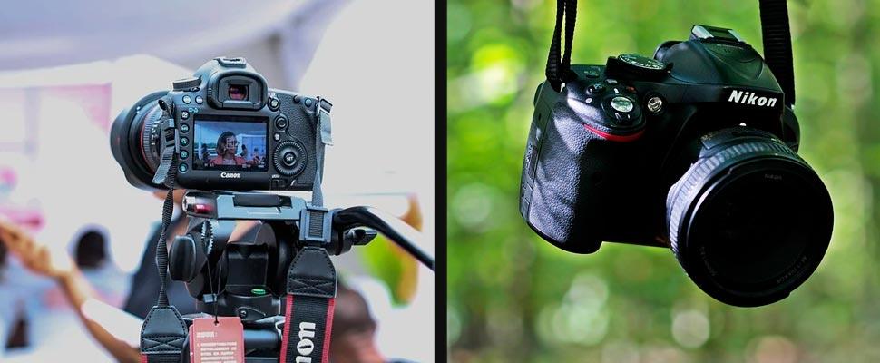 Canon camera and Nikon camera