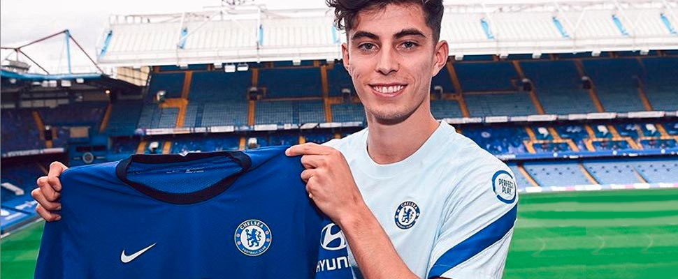 Kai Havertz with the Chelsea shirt