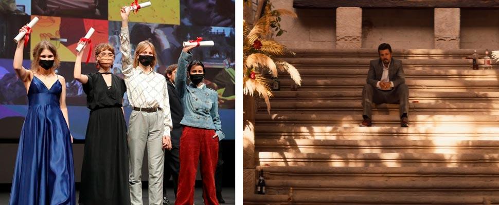 Artistas en el festival de Cannes y fotograma del tráiler de la serie 'Narcos'