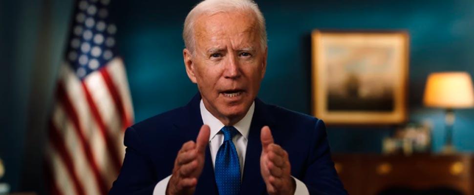 Joe Biden en un discurso de su campaña